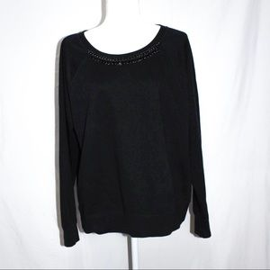 Old Navy Black Sweater with Faux Necklace Size XL